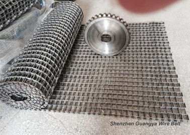 China Custom Design Flat Flex Belt , Stainless Steel Flat Wire Conveyor Belt Sprocket Driven supplier