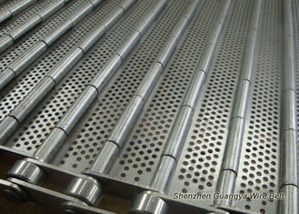 Stainless Steel Perforated Conveyor Belt For Ultrasonic Cleaning Line 125mm Pitches