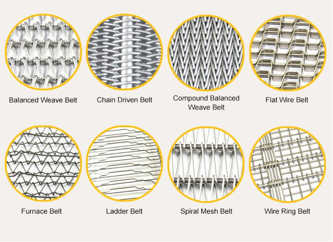 Reverse Dutch Weave Automatic 304 316 Flat Flex Wire Mesh Conveyor Belt 35*50mm Spiral size